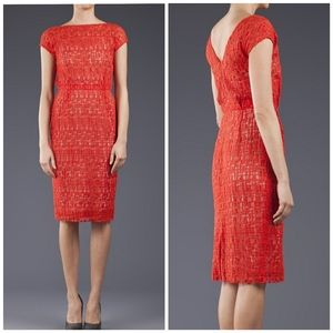 Lela Rose | Orange Jigsaw Silk Lace Shift Dress 4
